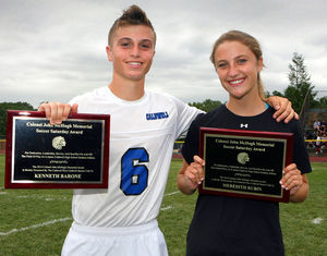 Kenny Barone and Meredith Rubin received the Colonel John McHugh Memorial Award. Image courtesy of the Progress at http://newjerseyhills.com/the_progress/.